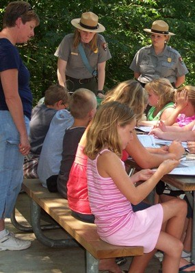 Children participating in Jr. Ranger Rendezvous program