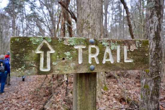 A wooden trail sign along  on a forested path. Hikers in background.