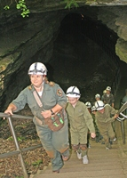A Trog Tour exiting the Historic Entrance at Mammoth Cave