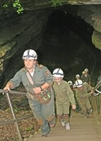 A Trog Tour exiting the Historic Entrance to Mammoth Cave