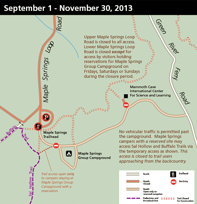 Detail map of the Maple Springs area closures during Fall 2013.
