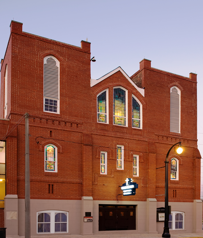 Historic Ebenezer Baptist Church at dawn.