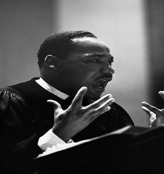 Dr. Martin Luther King, Jr. delivering a sermon.
