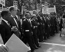 Martin Luther King with marching leaders at the March on Washington, 1963