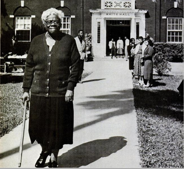 Mary McLeod Bethune on the campus of her school