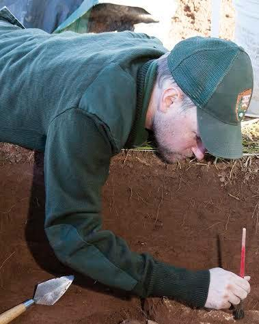 Brandon Bies conducts archeological research at Manassas National Battlefield Park.
