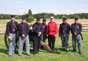 Members of Manassas' Own volunteer artillery squad in Union uniforms