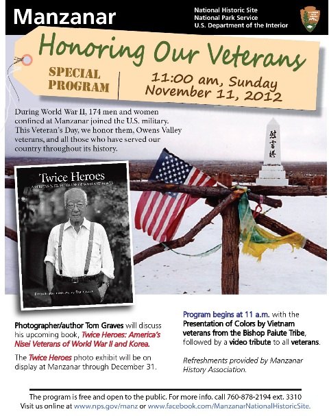 Manzanar Veterans Day 2012 Event flier