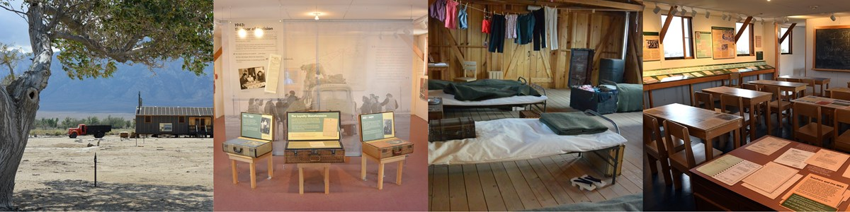 Four images in a row of Block 14 exhibits: outside view of brown mess hall with red truck, inside loyalty questionnaire exhibit of 3 old wood cases with next inside, army cots and blankets in barracks room, and classroom exhibit