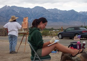 Jamie and Melissa Poulsen working outside at Manzanar. NPS Photo.