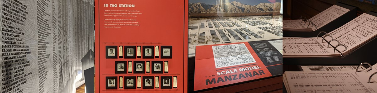 Four images in a row of indoor visitor center exhibits: wall of names, ID tags, scale model of Manzanar, and original roster books