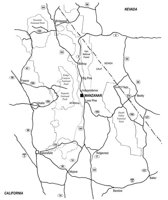 Map of Eastern California and Manzanar
