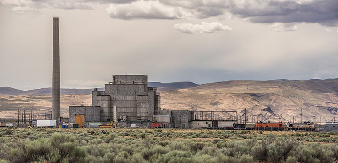 B Reactor in Hanford, Washington with hills in the background