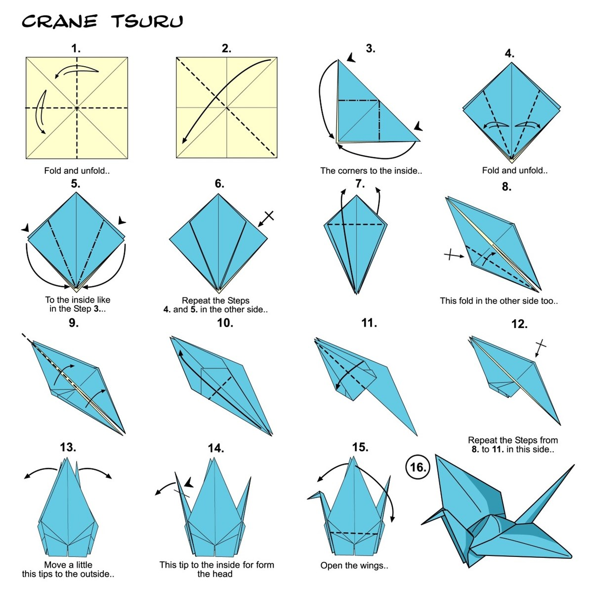 Illustrated step-by-step instructions for folding an origami crane, featuring diagrams and brief text instructions