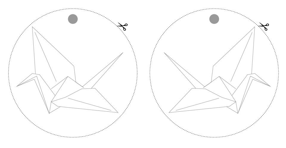 Two simple line illustrations of origami cranes in circles outline by a dashed stroke, with scissor icons indicating a cut line.