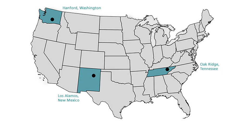 Map of United States showing Manhattan Project NHP locations in the following states: Washington, New Mexico, Tennessee.