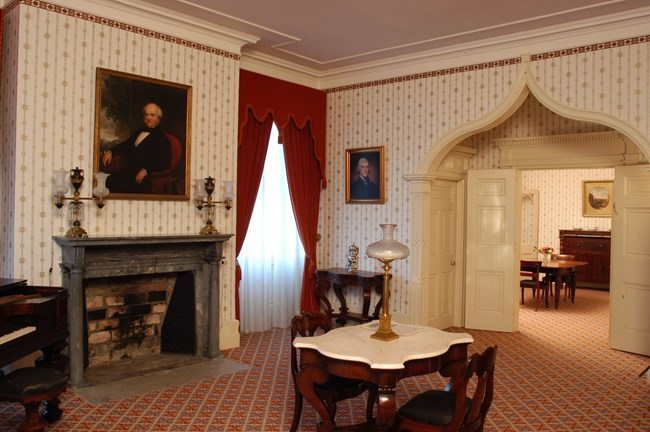The formal parlor of Van Buren's home.