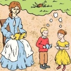 Colorized sketch of a woman reading to two children