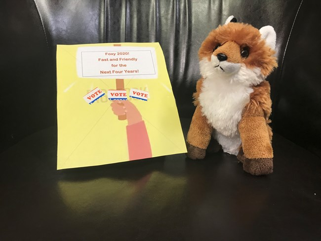 "A stuffed red fox with a sign saying ""Vote Foxy - Fast and Friendly for the Next Four Years!"""