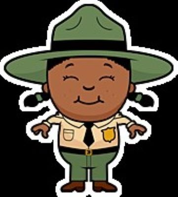 Cartoon graphic of a happy child dressed as a park ranger