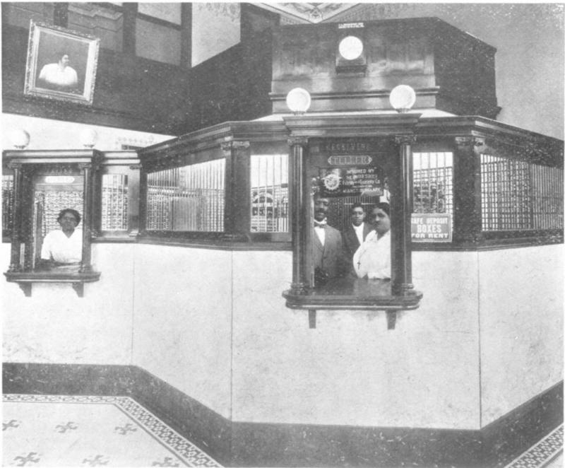 Historical image of the inside of the St. Luke Penny Savings Bank