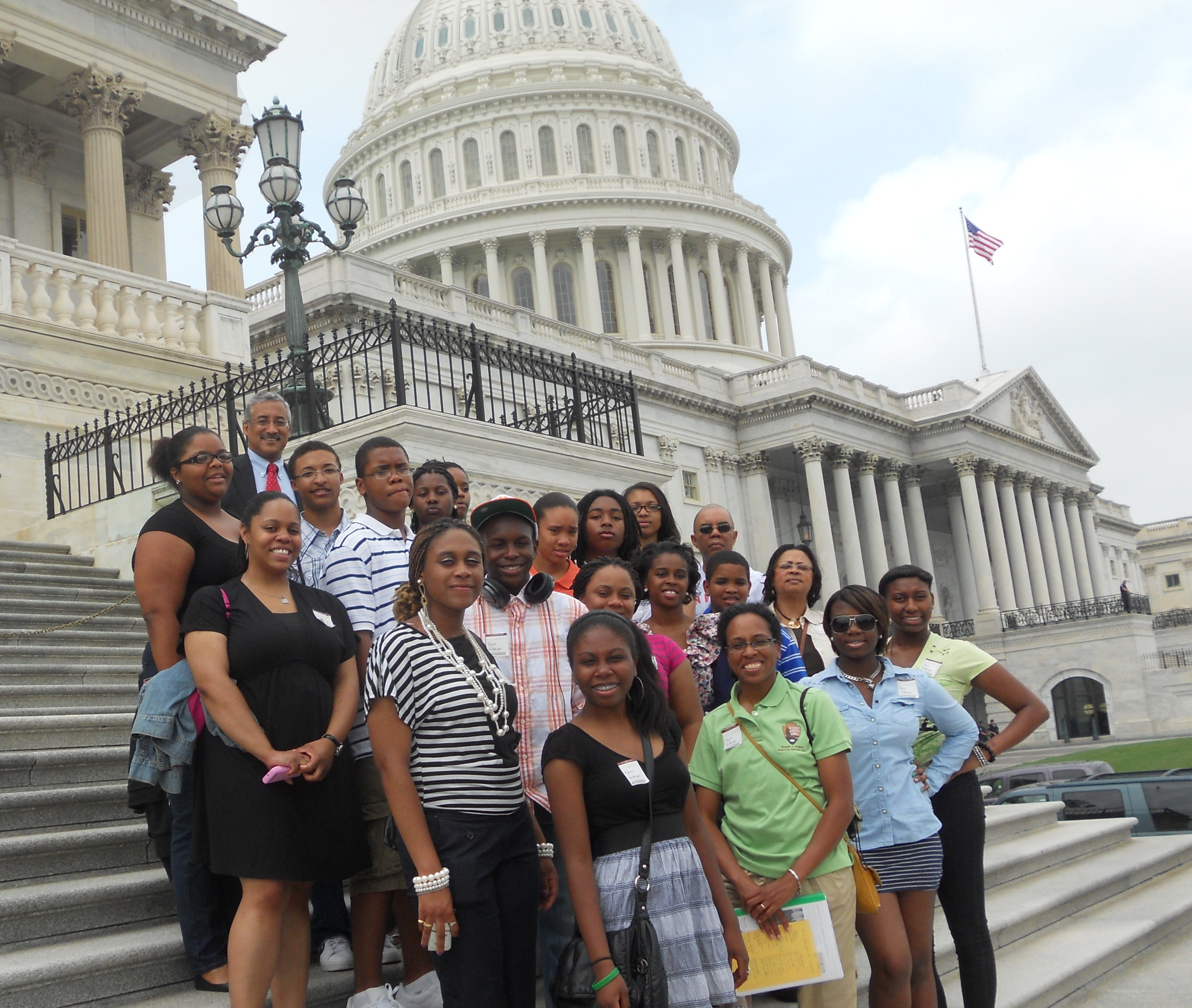 Youth standing on the steps of the U.S Capitol building