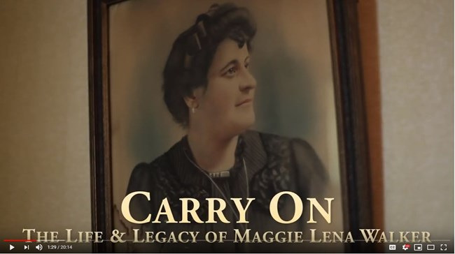 Still image of the title screen for Carry On: The Life and Legacy of Maggie Lena Walker