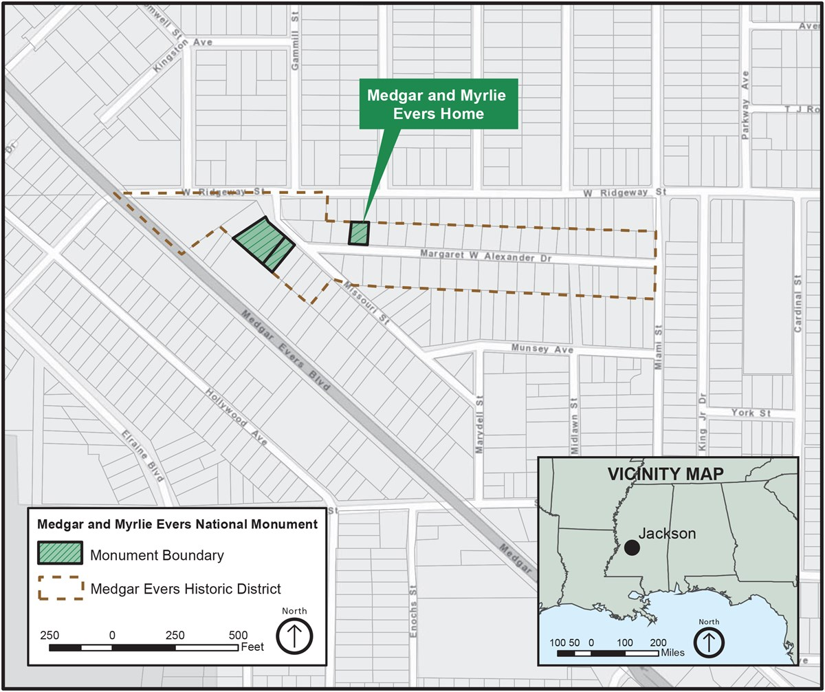 Map outlining national monument boundary and Evers home on Margaret Alexander Drive within the Medgar Evers Historic District north of Medgar Evers Blvd in Jackson, Mississippi