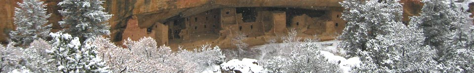 View of Spruce Tree House in winter