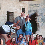 Student group in cliff dwelling