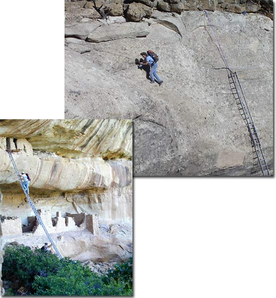 Typical backcountry access showing use of ladders and ropes.
