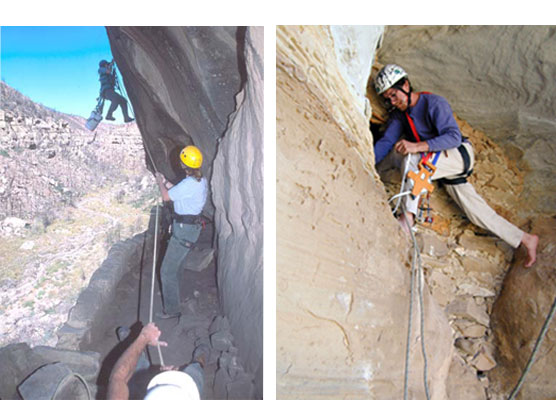 Archeologists rappelling to install a silicone dripline and assessing backcountry cliff dwellings.