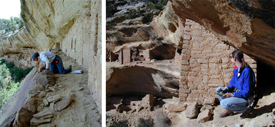 Two images. Left image of archeologist documenting hand and toe hold. Right image of archeologist working in Kodak House cliff dwelling.
