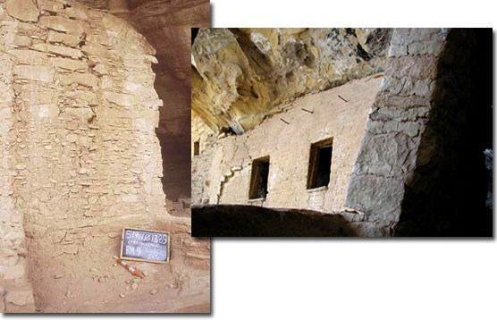 Images of damaged walls in cliff dwelling sites.