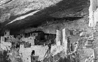 Cliff Palace before excavation, c. 1890 to 1900.