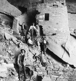 Visitors in Cliff Palace