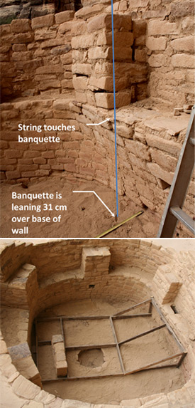 Cliff Palace. Dual photos temporary stabilization of Kiva F