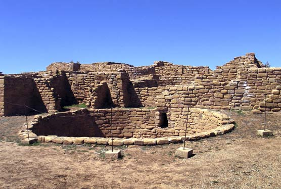 Pueblo site with kiva in foreground at Far View Sites