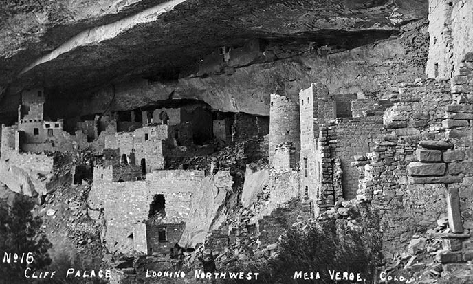 Pre-excavation photograph of Cliff Palace from 1890 to 1900.