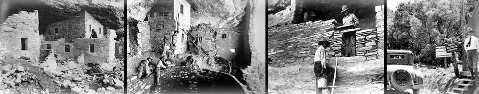 Four historic, black and white images of men working on ancient, stone-masonry cliff dwellings of Mesa Verde.