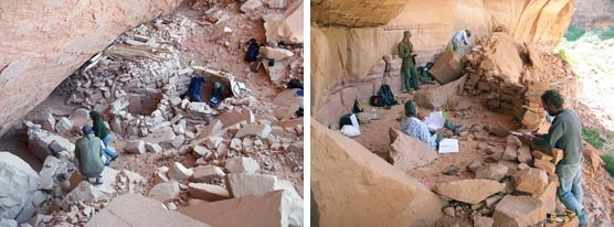 Two images of archeologists working in an alcove archeological site.