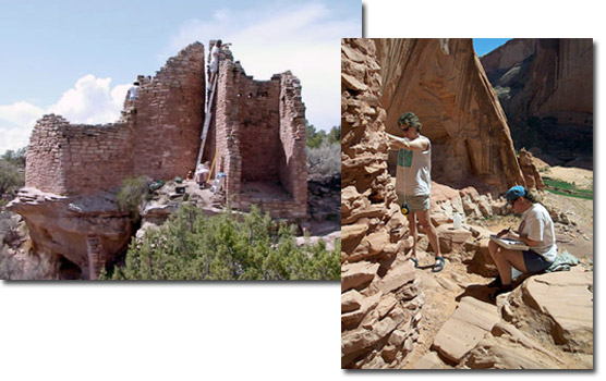 Two images of Mesa Verde archeologists working at other national park sites.