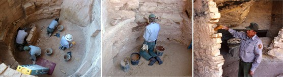 Stabilization crew repairing archeological sites.