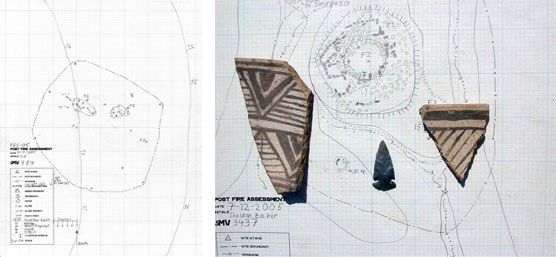 Two site maps, one with pottery shards and lithic in foreground.