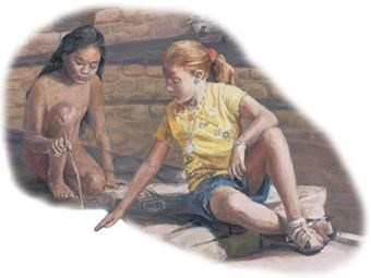 Red-hair in shorts girl sitting on stonework pointing down at something a dark-haired Ancestral Pueblo girl is using a stick to draw on the ground.