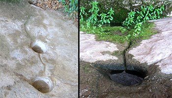Two photos. One showing carved, round depressions in a stone floor. The second show a small depression filled with water.