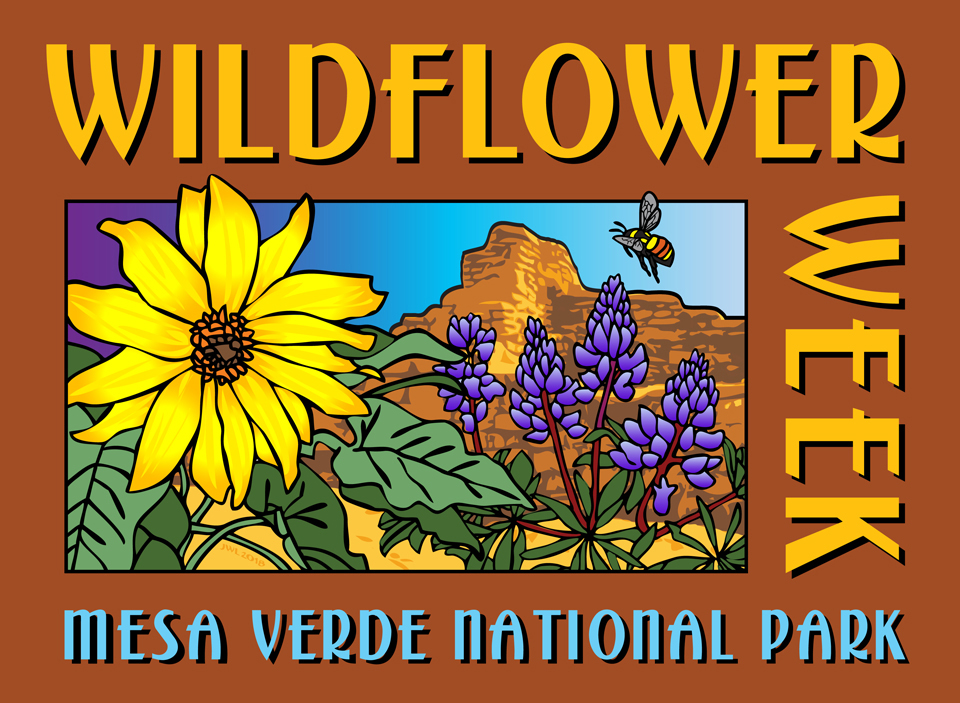 Color graphic of a bee hovering over wildflowers with the mesa in background.