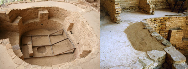 Two images of temporary stabilization of Kiva F in Cliff Palace