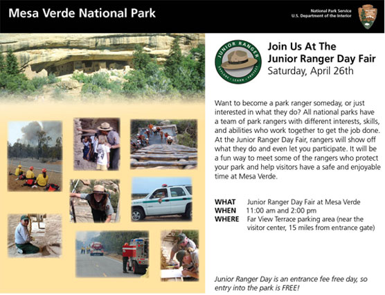 Junior Ranger Day Flyer with images of park rangers.