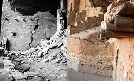 Two sided photo. On left is a black and white photo showing cracked and crumbling walls of an ancient dwelling. On the right shows the same view after it was stabilized by archeologists.